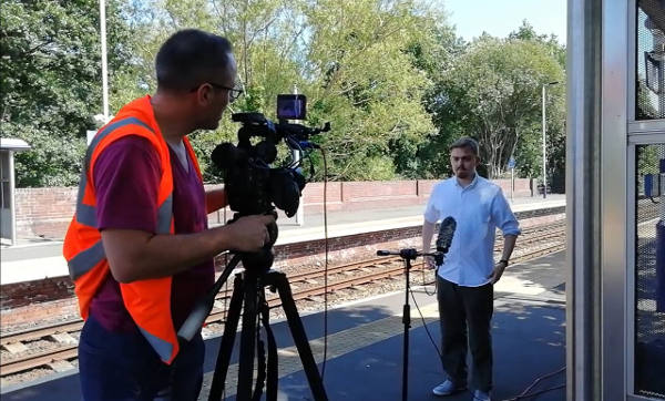 Joseph Codling being interviewed at Blaydon Station