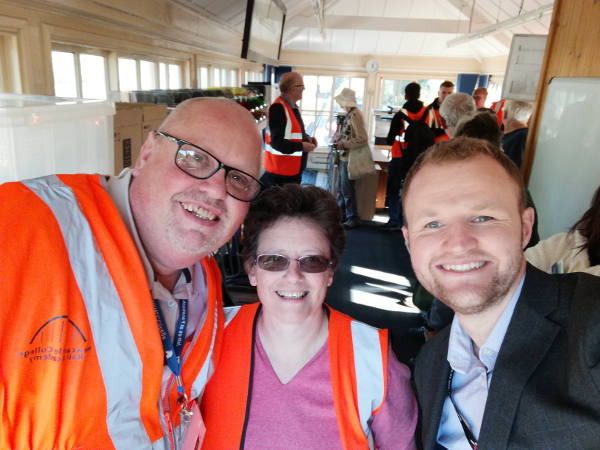 Ian Stevens (Academy of Rail,, Newcastle College) Fiona Forsythe, Alex Bray Stakeholder Liaison Manager XC in Signal Box)