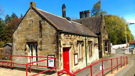 Haltwhistle Old Booking Hall in sun sfw